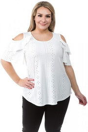 Eyelet Cold Shoulder Top with Ruffle Sleeves (1XL-3XL)
