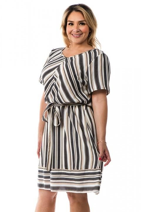 Striped Dress with Angled Front (1XL-3XL)