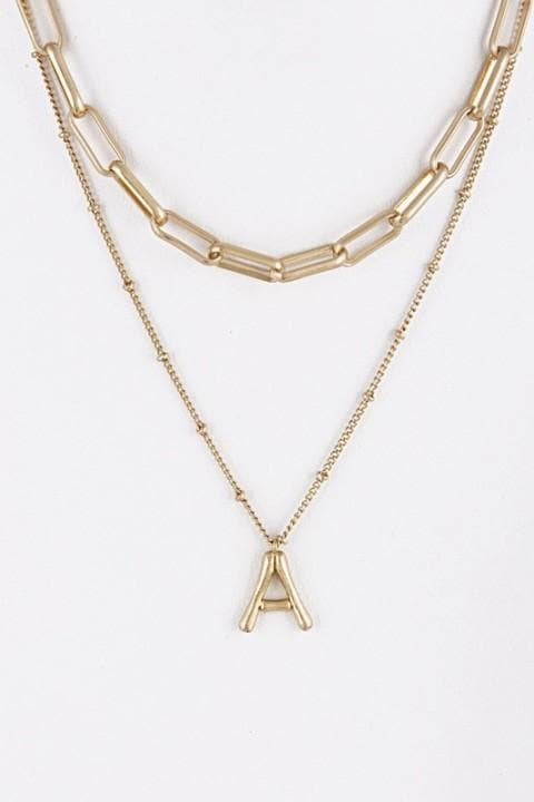 Paper clip Initial Necklace -Two Tier