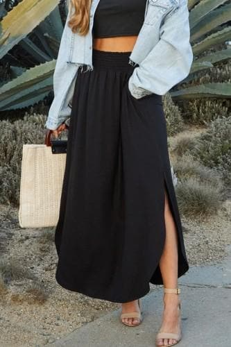 Smocking Waist Maxi Skirt with Side Pocket