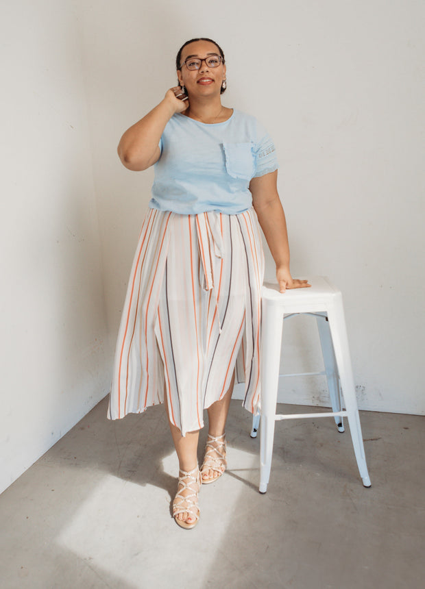 Plus Size Multi Striped Skirt w/ Self-Tie Detail at Waist.