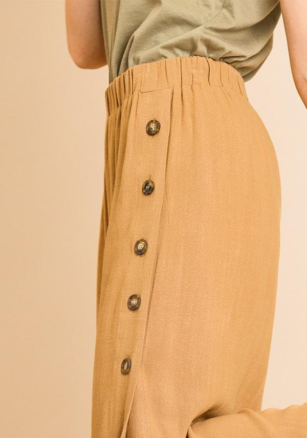 Linen Blend High Waist Wide Leg Split Leg Pants with Side Buttons and Elastic Waist