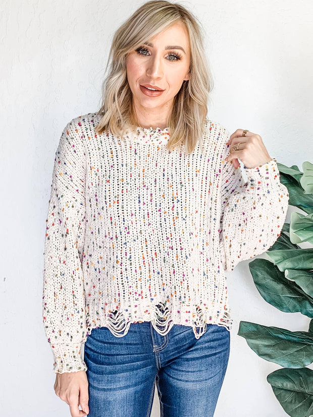 Pol - Funfetti Knit Sweater with Distressed Hem Details