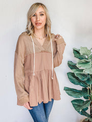 Long Sleeve V-Neck Hooded Ruffle Hem Tunic with Drawstring