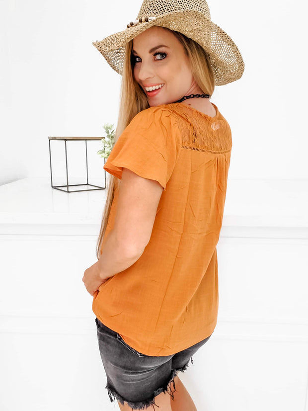 Solid Top with Crochet Trim Detail and Lace Insert