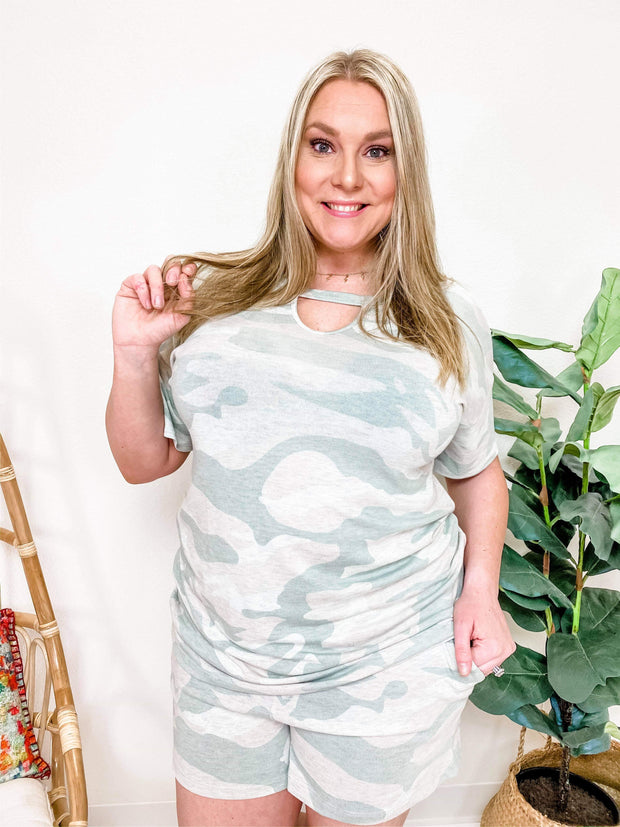 Camouflage Printed Hacci Knit Cut-Out Top (S-3XL)