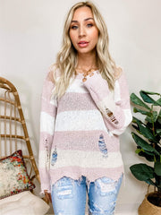 Pol - Lightweight Distressed Detail Sweater Featuring Ripped/Distressed detail on Body and Edges