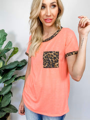 Jersey Knit Top with Leopard Front Pocket and Edge Finish