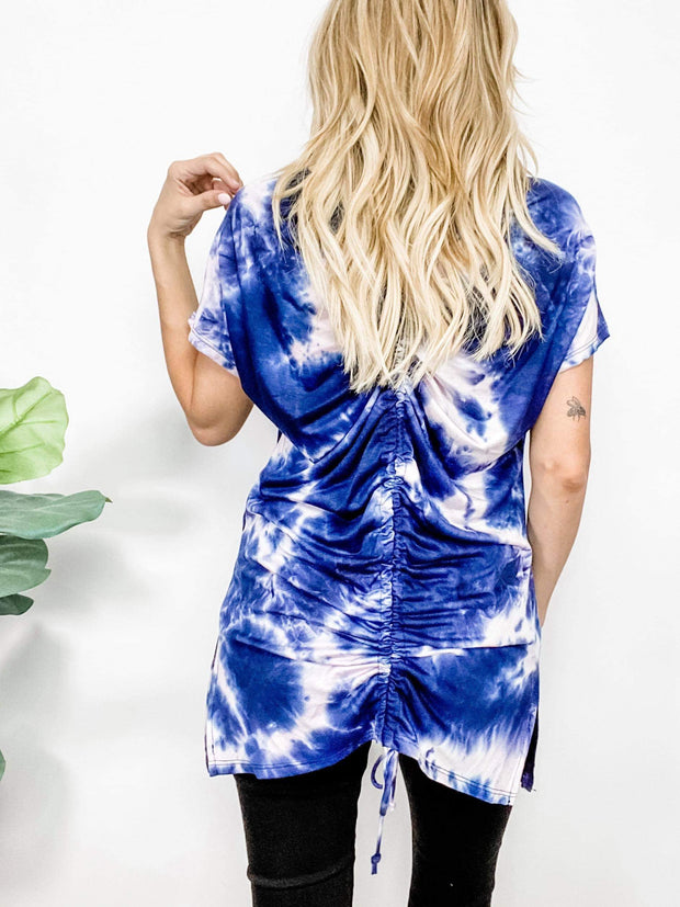 Tie Dye Short Sleeve Ruched Back Top (S-3XL)