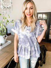 Tie-Dye Printed French Terry Peplum Top (S-3XL)