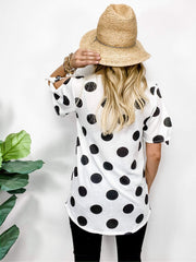 Polka Dot V-Neck Top with Short Sleeve Ties (S-3XL)