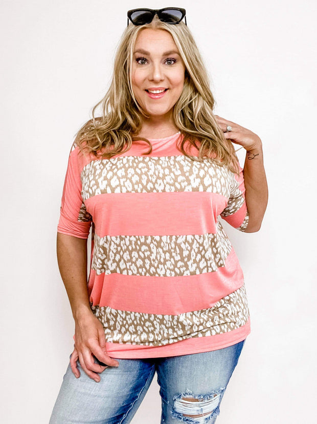 Crew Neck Top with Leopard Detail (XL-3XL)