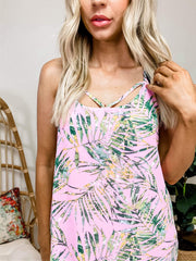 Scoop Neck Tropical Print Tank Top Featuring Caged Back and Adjustable Straps