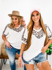 V-Neck Top with Leopard Detail (S-3XL)