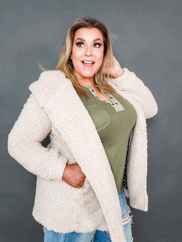 Easel - Over Sized Soft Faux Fir Hooded Coat (S-3XL)