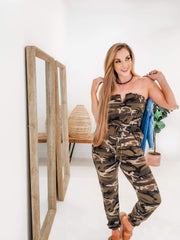 Army Camouflage Print Tube Jumpsuit