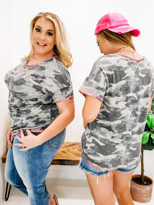 Camouflage Top with Trim Detail - (S-3XL)