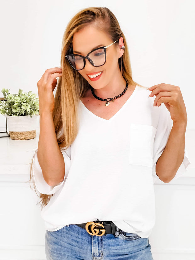 V-Neck Crumble Flare Top