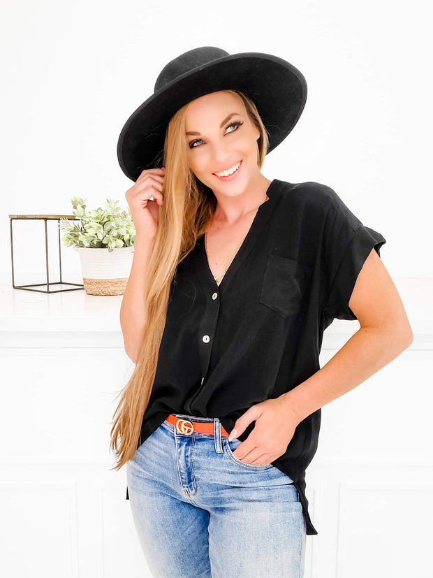Solid High Low Button Down Top