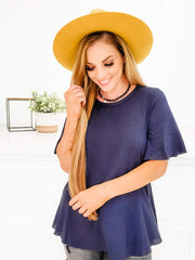 Short Sleeve Solid Knit Top