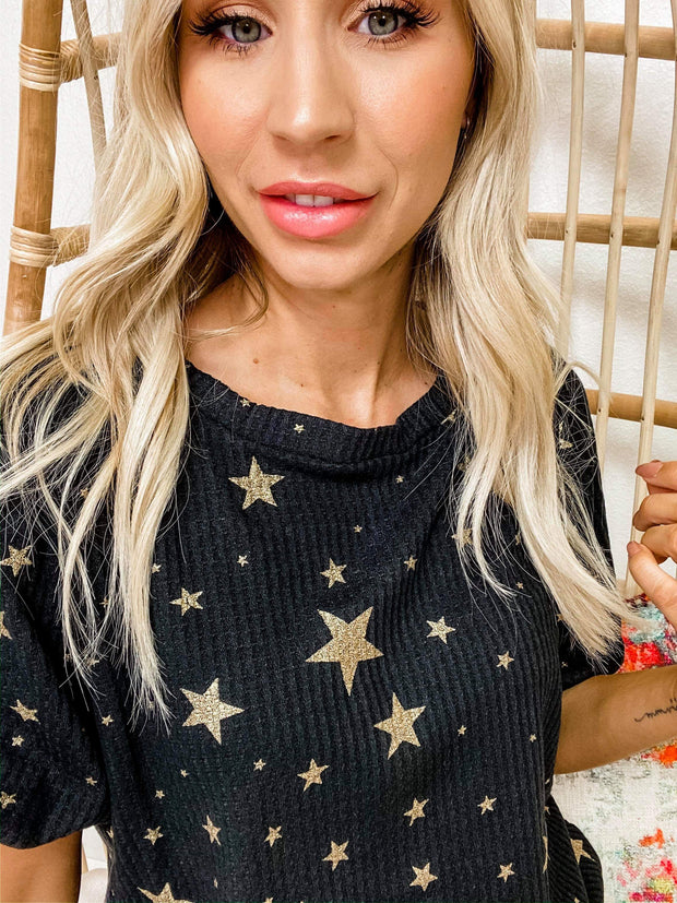 All Over Star Foil Print Thermal Waffle Top