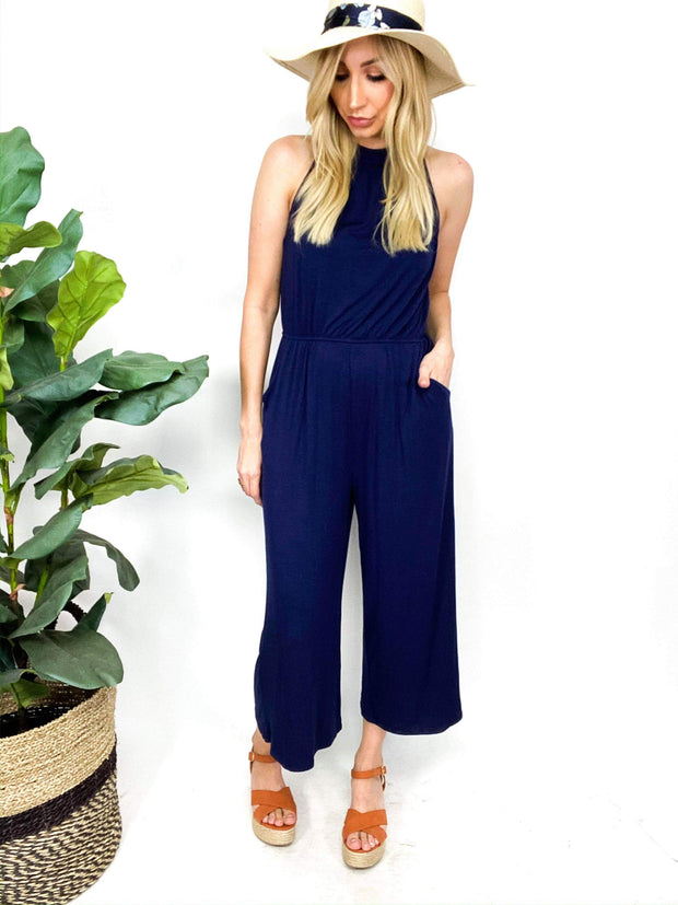Modal High Neck Cropped Wide Leg Jumpsuit