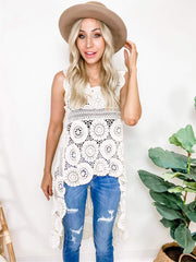 Crochet Hi-Low Sleeveless Tunic Top