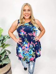 Floral Sleeveless Round Neck Tunic Top(S-3XL)