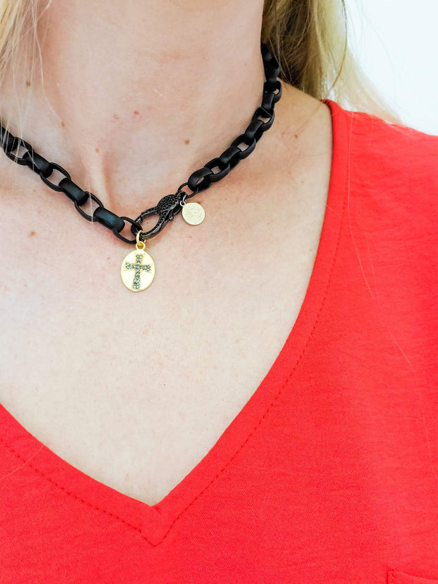 Karli Buxton - Cross on Gold Filled Coin Mini Diamond Pendant
