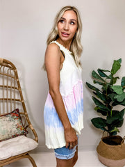 Pol - Rainbow Sherbet Babydoll Sleeveless Top