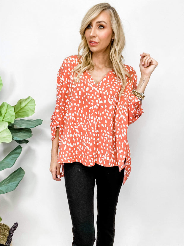 Geometric Print V-Neckline Top Featuring Permanent Button Closure at Sleeve