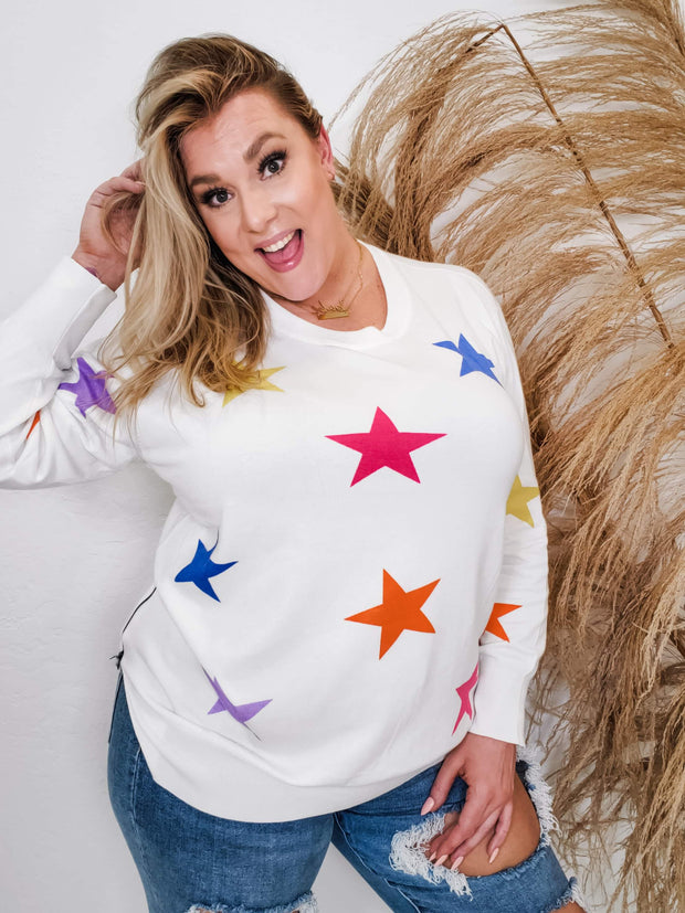 Long Sleeves Multi-Colored Star Printed Knit Sweater Featuring Round Neckline and Zip Detailed Slit (S-3XL)