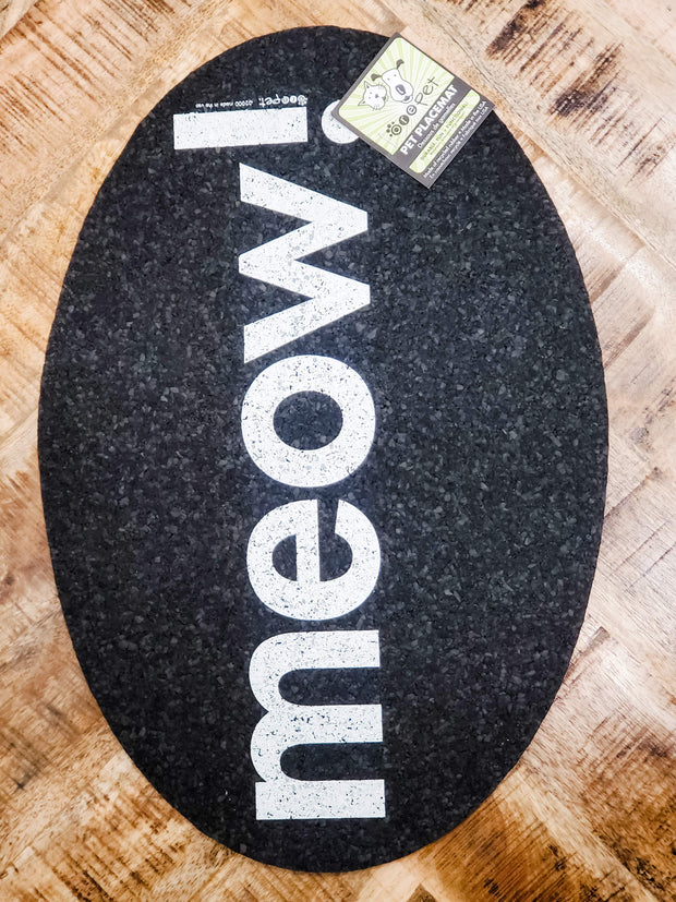 Petmat Recyclable Rubber Oval Meow