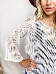 Pol - Lightweight Open Weave Knit Sweater Featuring Relaxed Fit with Boat Neckline (S-3XL)