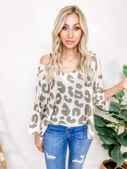 Pol -  Vintage-Inspired  Open Weave Lightweight Sweater with Leopard Print (S-3XL)