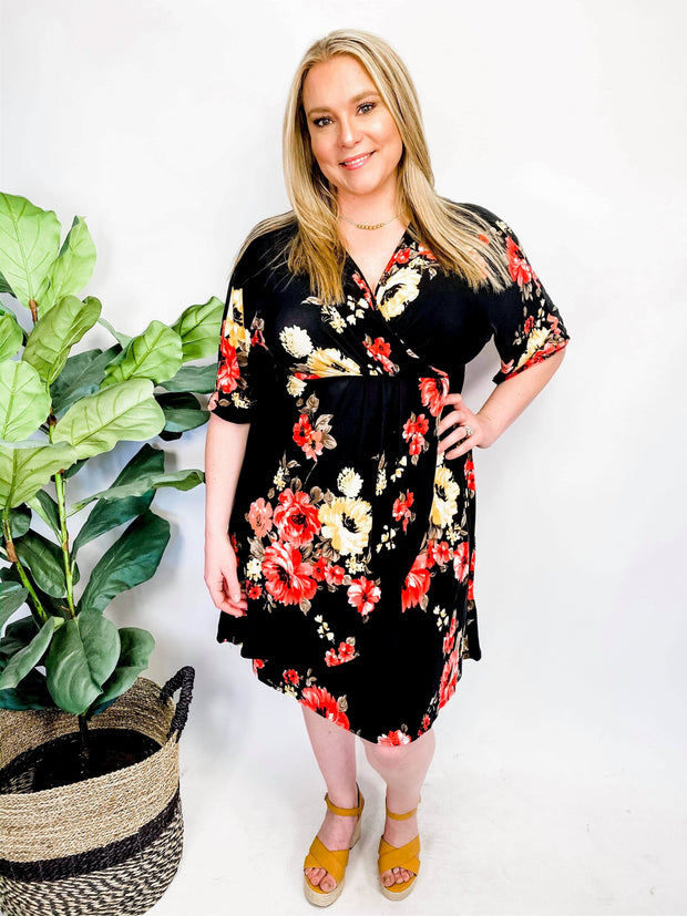 Floral Knee Dress (1XL-3XL)