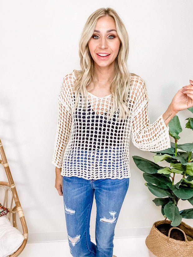 Fiashnet Scoop-Neck Long Sleeve Top
