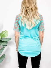 Short Sleeve Round Neck Contrast Top