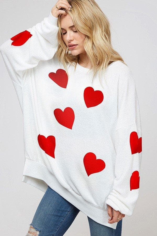 Long Sleeve Allover Heart Print Sweatshirt Top