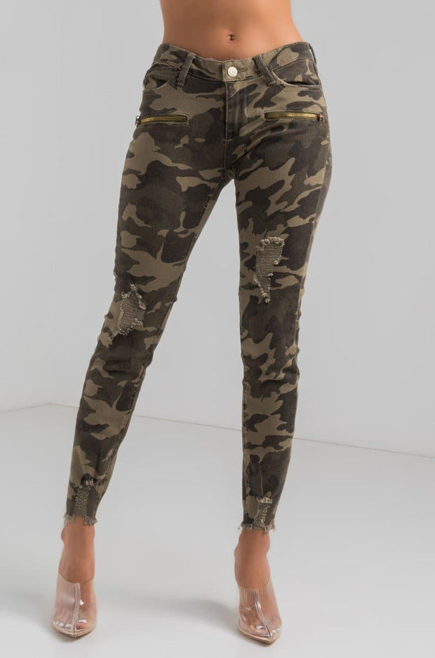 Plus Size Camo Distressed Ankle Skinny Jeans
