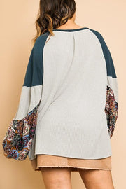 Waffle Knit Top with Floral Print Puff Sleeves and a Solid Slub Knit Collar and Shoulders