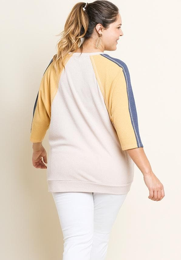 Colorblock Waffle Knit 3/4 Dolman Sleeve Round Neck Top