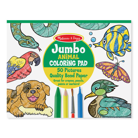 Melissa and Doug Jumbo 50-Page Kids' Colouring Pad -Animals