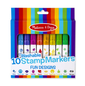 Melissa and Doug 10 Washable Stamp Markers - Fun Designs