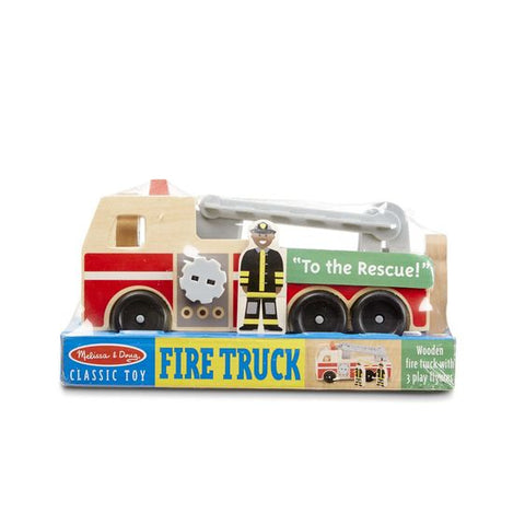 Melissa & Doug Classic Wooden Fire Truck Play Set