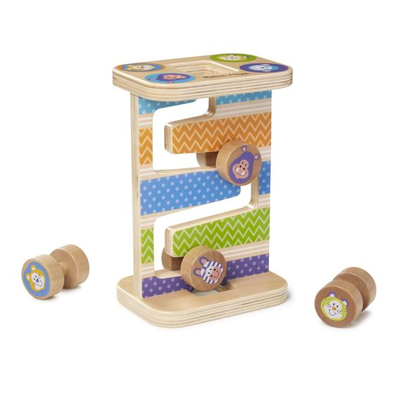 Melissa & Doug First Play Wooden Safari Zig-Zag Tower With 4 Rolling Pieces