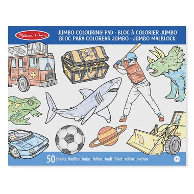 Melissa and Doug Jumbo 50-Page Kids' Coloring Pad - Space, Sharks, Sports and More