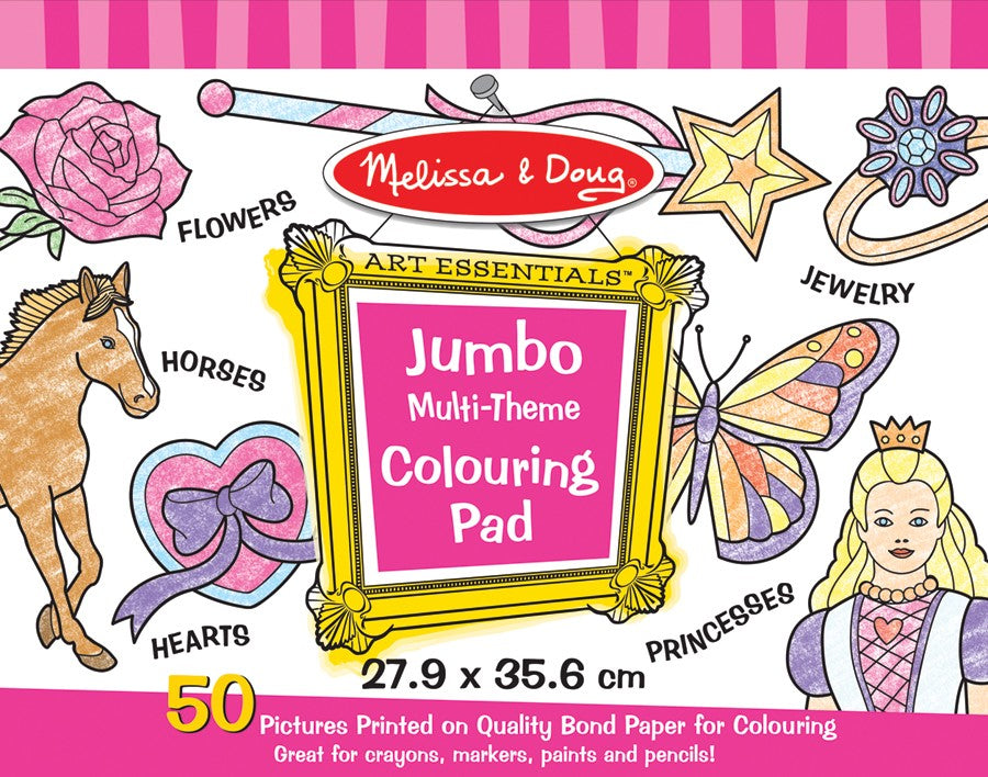 Melissa and Doug Jumbo 50-Page Kids' Coloring Pad - Horses, Hearts, Flowers, and More