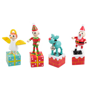 House of Marbles Dancing Wooden Press-Up - Christmas Thumb Push Toy