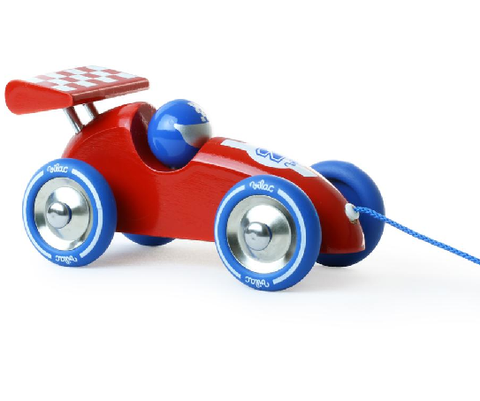 Vilac Pull Along Racing Car Red and Blue